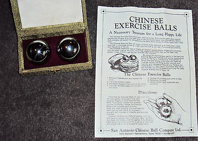 Vintage Set Of Chinese Exercise/relaxation Steel Balls - Excellent