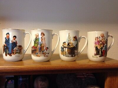 Set of 4 Norman Rockwell Coffee Cups 1982 Vintage