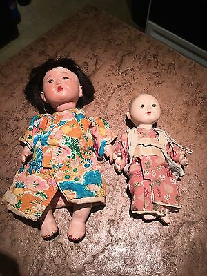 2 Vintage Asian Composition Japanese Dolls with Glass Eyes