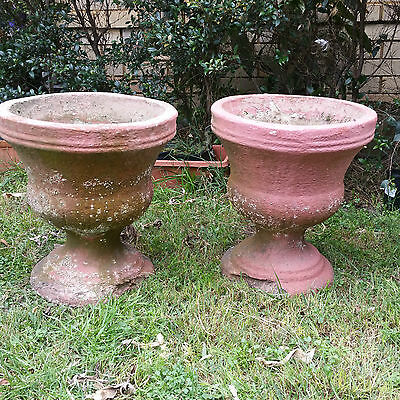 Matching Pair Vintage Concrete Urn Shaped Plant Pots with badly chipped bases