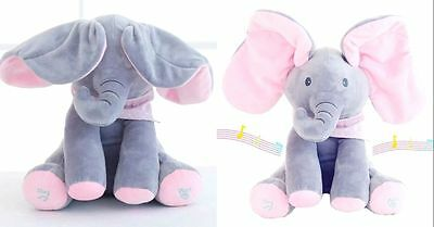"12""Peek-a-boo Elephant Baby Plush Toy Singing Stuffed Animated Animal Kids Doll"
