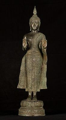 Antique Early 20th Century Thai Protection Standing Buddha Statue - 60cm/24""