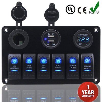 6 Gang LED Rocker Switch Panel Circuit Breakers Charger 12V USB For Boat Marine