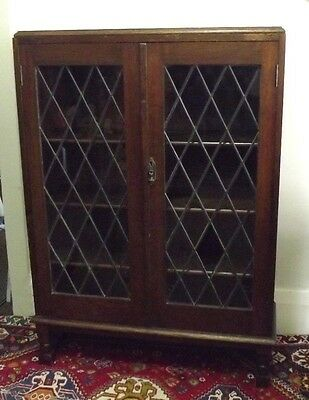 Antique Jacobean Style Leadlight Bookcase - Display Cabinet -