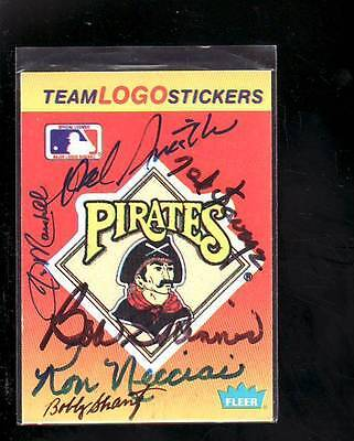 Pittsburgh Pirates Signed Autograph Fleer Logo Sticker 6 Vintage Players