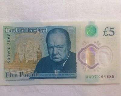 Low serial number AA07 064885 new polymer £5 note BN Rare Mint