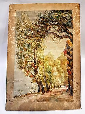 OLD ANTIQUE FRENCH SILK EMBROIDERY PAINTING  IMPRESSIONISM 19c