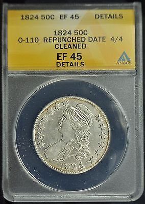 1824/4 Capped Bust Half Dollar -- ANACS XF-45 Details