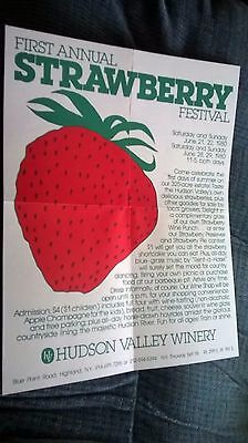 HUDSON VALLEY WINERY HIGHLAND,NY BROCHURE 1st Annual STRAWBERRY FESTIVAL POSTER