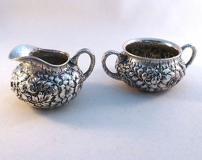 Repousse-Wood & Hughes Sterling Creamer & Sugar Bowl
