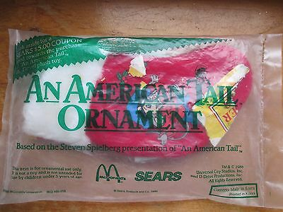 Vintage 1986 An American Tail Ornament McDonalds Happy Meal Toy Mint in Pkg