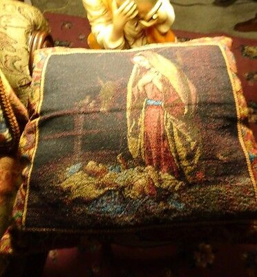 Antique ORTHODOX Icon MOTHER MARY with JESUS  Tapestry Sofa Chair Pillow.
