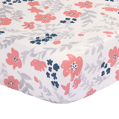 Floral Fitted Crib Sheet Toddler - Coral Pink and Navy Blue - 100% Cotton Sateen