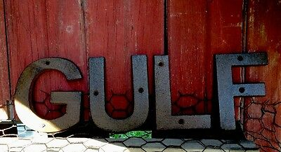 Cast Iron Gulf Sign Gas Pump Visible Oil Can