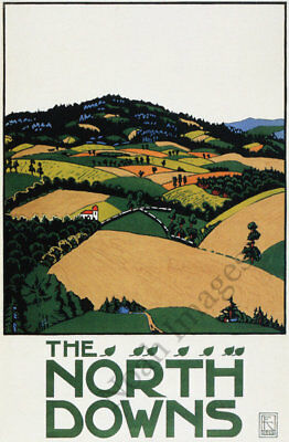 North Downs vintage travel poster repro 16x24