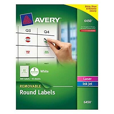 """Avery 6450 Removable Round Labels 1"""" Diameter 63 labels per sheet"""