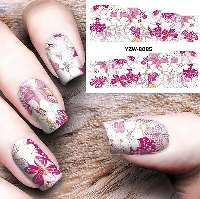 Nail Art Water Decals Stickers Transfers Pink White Flower Gel Polish