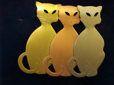 New Triple Cat Pin / Brooch Gold, Bronze, Silver Tones