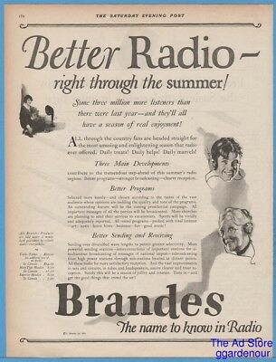 1924 C. Brandes Inc Radio Superior Headphones Navy Type Headset Table Talker Ad