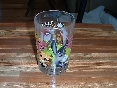 Shrek The Third Heavy Collectible Glass With Puss N Boots & Donkey McDonalds NEW