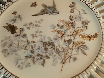 Antique Fischer & Mieg Bohemian Footed Plate Birds Butterfly Insects Reticulated