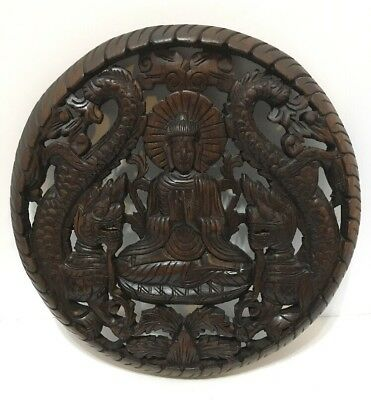 Large Buddha Dragon Teak Wood Wall Hanging Temple Alter Carved Wood Art Buddhism