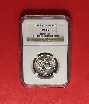 Albania - Unc 1926-R  Lek ,certified By Ngc Ms65.