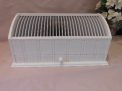 31 Day Mail Letter Bill Sorter Organizer Storage Wood Pull Out Drawer  -White
