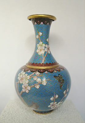 Vintage Japanese Cloisonne Vase - Cherry Blossoms And Butterfly Design
