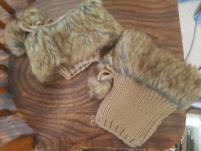 Beige brown furry woollen boot cuffs toppers for boots