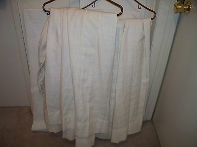VINTAGE LINEN CURTAIN PAIR CUSTOM NW OFF WHITE 54x50 TRAVERSE ROD STYLE PLEAT