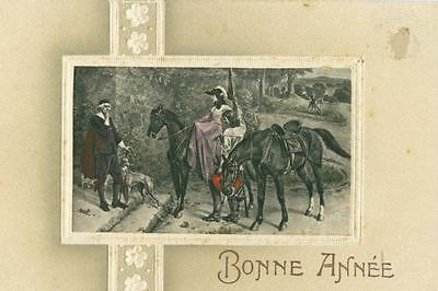 Old Italian Greyhound Dog Bonne Année Postcard PC Embossed France c1910