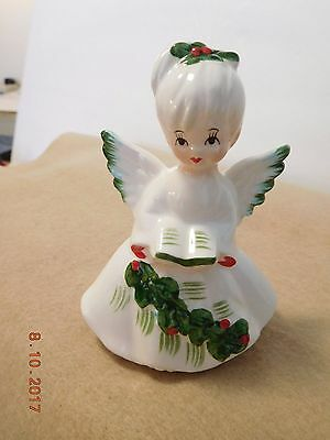 Vintage Lefton Christmas Holly Angel with Song Book Figurine 6394 w Foil Japan L