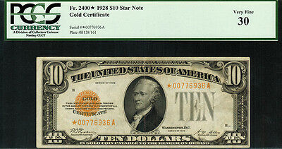 1928 $10 Gold Certificate FR-2400* - Star Note - PCGS 30 - Very Fine