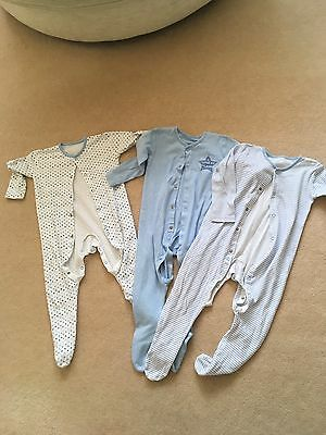 3 x Baby Boys 18-24 Sleepsuits, Excellent Condition