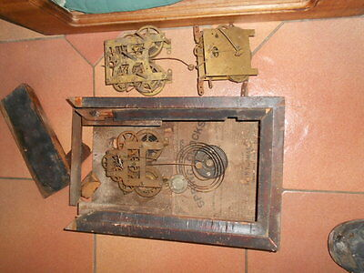 Thomas, American wall clock spares plus 2 more movements and windles oil bottle