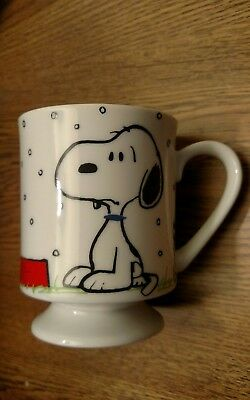 "Snoopy footed porcelain cup "" I Hate it When it Snows on my French Toast"""