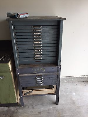 Vintage printers type face 16 drawer cabinet and letters