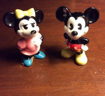 Vintage Disney Porcelain Minnie And Mickey Mouse Figurines