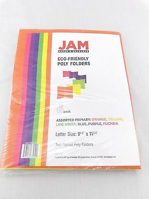 JAM Paper 6-Pack Assorted Eco Friendly 2-Pocket Plastic Folders Primary Colors