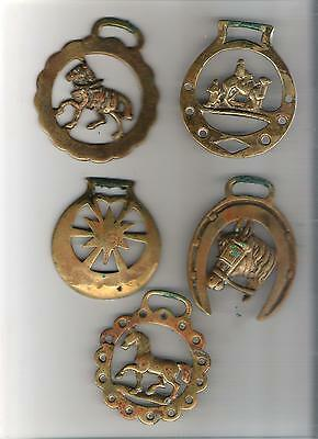 Lot of 5 horse brass bridle medallions - as shown - need cleaning