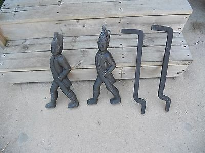 Antique Pair of Cast Iron Fireplace Andirons Hessian Soldiers with Supports
