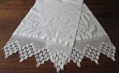 "antique pillow layover 63x19"" wh linen w embroidery, 8"" crochet trim each end"