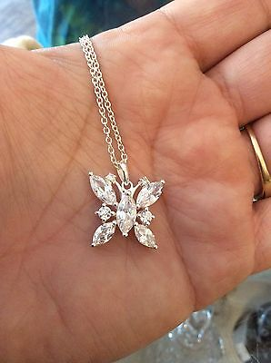 Lenox Crystal Butterfly Necklace Silver