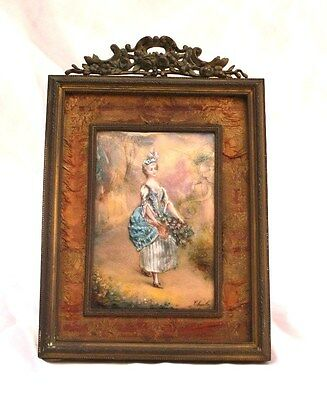 Magnificent 19C French Hand Painted Enamel On Metal With Bronze Frame Painting
