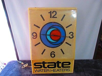 Vintage State Water Heaters Large advertisement LIGHT UP promotional wall clock