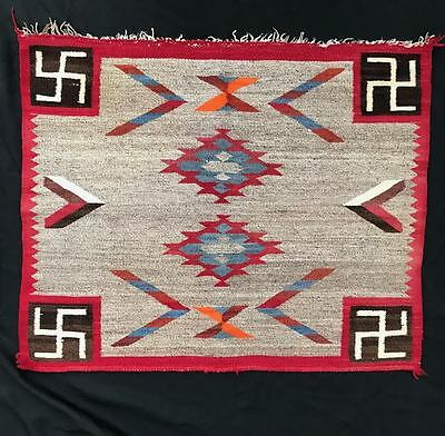 1920s Whirling Log Navajo Rug Ganado Blanket Tapestry Like Finish Very Nice