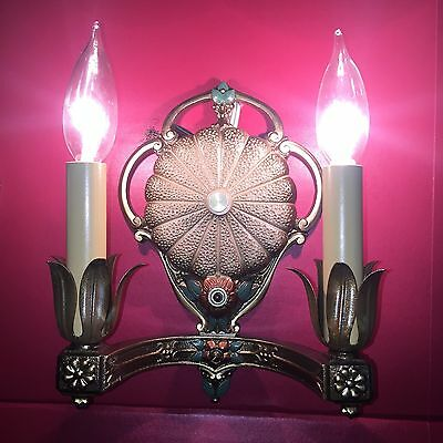 Beautiful Sconces Vintage Antique Wired Pair Great Electric Candles
