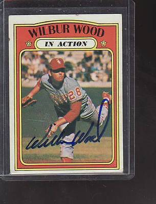 Wilbur Wood 1972 Topps Baseball In Action Signed Autograph Card