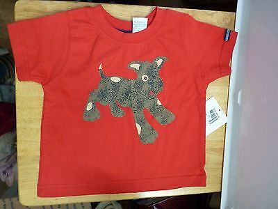 Red Tee Shirt with Brown Dog 12 Months First Impressions NWT